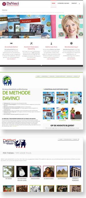Diverse websites voor uitgeverij DaVinci